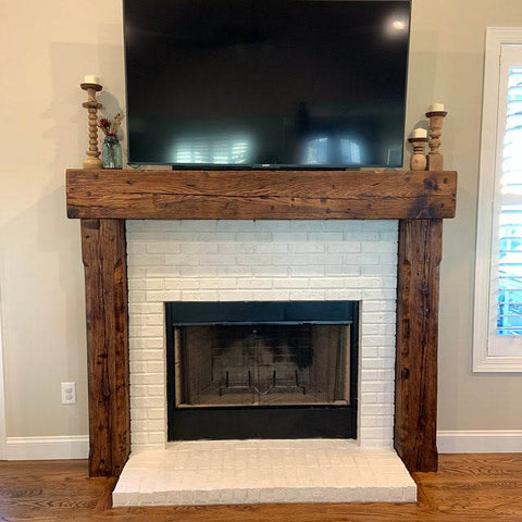 wood beam mantel