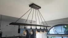 Load image into Gallery viewer, Rustic Industrial wood beam chandelier with iron accents