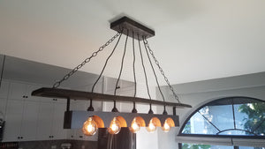 Rustic Industrial wood beam chandelier with iron accents