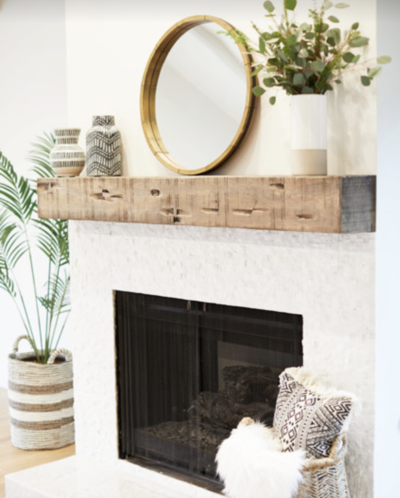 Crystal's fireplace mantel