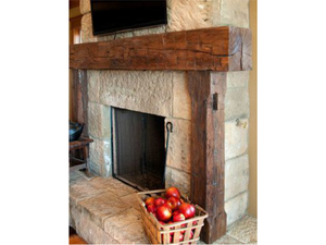 Andrea's full fireplace mantel with legs and ceiling beams
