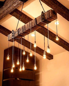 Reclaimed Barn Wood Beam Chandelier