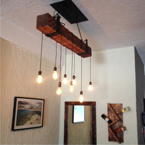 3 foot Reclaimed Barn Wood Beam Chandelier