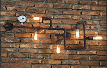 Load image into Gallery viewer, Industrial Pipe wall lamp with gauge