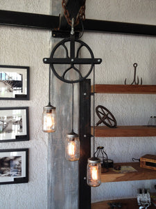Beautiful Pulley lamp with mason jars