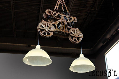Vintage Hay Trolley Chandelier