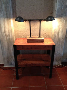 Rustic Industrial Pipe Table Lamp