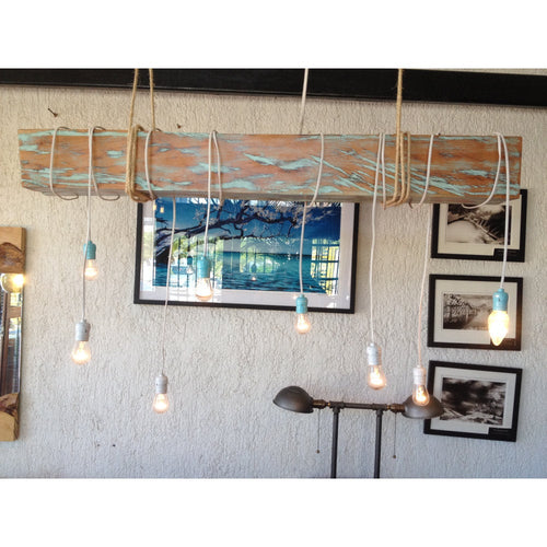 4 foot Reclaimed Barn Wood Beam Chandelier with rope