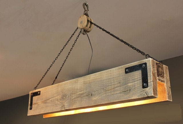 Rustic Reclaimed Suspended Wood Chandelier