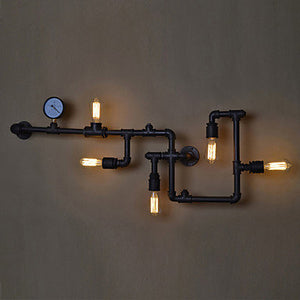 Industrial Pipe wall lamp with gauge