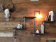 Load image into Gallery viewer, Rustic Industrial Wood and pipe wall shelf
