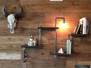 Rustic Industrial Wood and pipe wall shelf