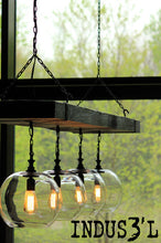 Load image into Gallery viewer, Large Reclaimed Wood Beam Chandelier with Globes