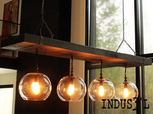 Large Reclaimed Wood Beam Chandelier with Globes