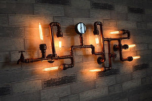 Industrial Pipe wall lamp with gauge, faucet and valve (antique copper) with vintage bulbs