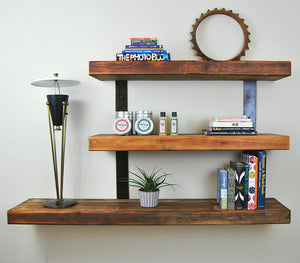 Reclaimed wood and iron wall bookshelf