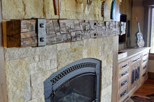 "Load image into Gallery viewer, REAL BEAM 8"" x 8"" Reclaimed wood beam fireplace mantel with iron brackets"