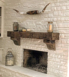 "REAL BEAM 4"" x 6"" Reclaimed hand hewn wood beam fireplace mantel with corbels"