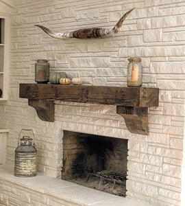 "6"" x 6"" Mantel made from Reclaimed wood beam fireplace mantel shelf with corbels ""REAL BEAM"""