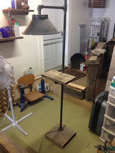 Load image into Gallery viewer, Rustic Industrial pipe and wood floor lamp