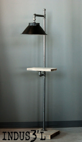 Rustic Industrial pipe and wood floor lamp