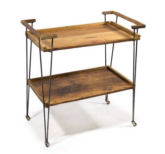 Rustic industrial bar cart