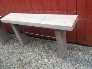 Vintage industrial wood beam console with pipes