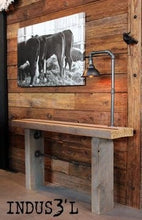 Load image into Gallery viewer, Vintage industrial wood beam console with pipes