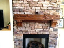 "Load image into Gallery viewer, 4"" x 6"" Reclaimed hand hewn wood beam fireplace mantel with corbels"