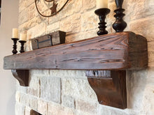 "Load image into Gallery viewer, REAL BEAM 5"" x 10"" Reclaimed wood beam fireplace mantel with corbels or iron brackets"
