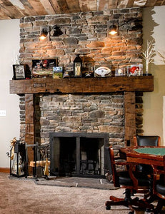 "Bob's big rustic full 10"" x 10"" wood beam fireplace mantel with notched 8"" x 8"" beam legs"