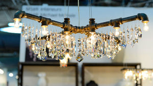 Industrial Chic Crystal Chandelier