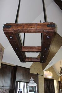 Rustic Industrial Beam Chandelier