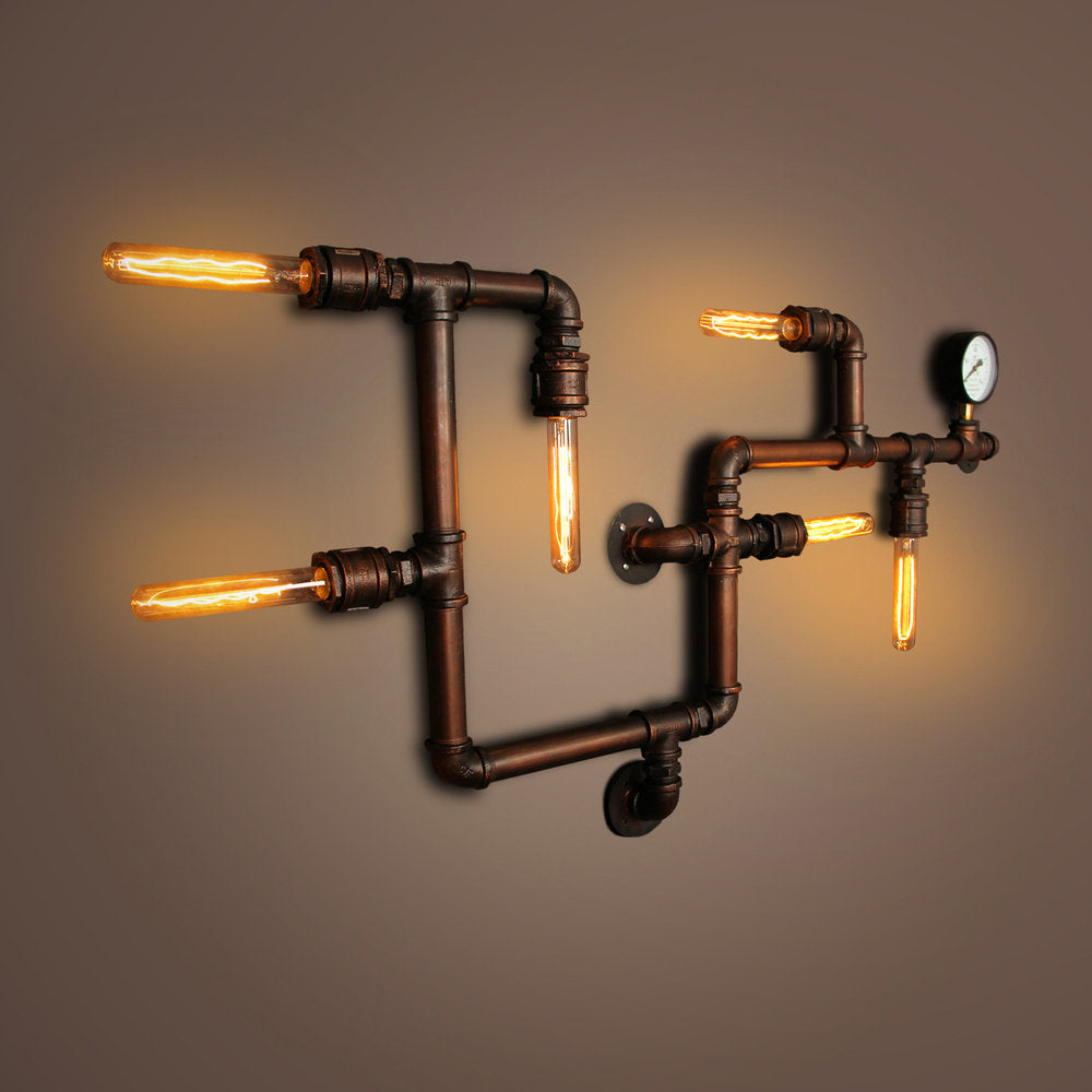 Industrial Pipe wall lamp with gauge (antique copper)
