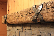 "Load image into Gallery viewer, 8"" x 8"" Mantel made from Reclaimed wood beam fireplace mantel shelf with iron X brackets ""REAL BEAM"""