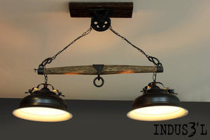 Beautiful Farmhouse Yoke suspended lamp with pulley