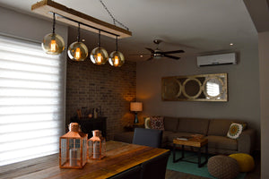 Medium Reclaimed Wood Beam Chandelier with Globes