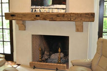 "Load image into Gallery viewer, 6"" x 8"" Mantel made from Reclaimed hand hewn wood beam fireplace mantel shelf with corbels ""REAL BEAM"""