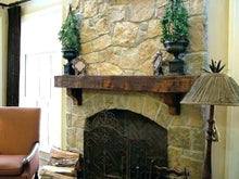"Load image into Gallery viewer, REAL BEAM 6"" x 12"" Reclaimed wood beam fireplace mantel with corbels or iron brackets"