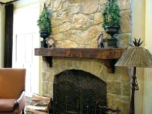"6"" x 8"" Mantel made from Reclaimed distressed wood beam fireplace mantel shelf with corbels ""REAL BEAM"""