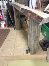 Load image into Gallery viewer, Vintage industrial wood beam console with pipes and live edge