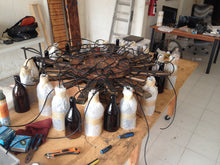 Load image into Gallery viewer, Beautiful rustic wine bottle chandelier