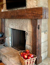 "Load image into Gallery viewer, Bob's big rustic full 10"" x 10"" wood beam fireplace mantel with notched 8"" x 8"" beam legs"