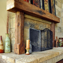 "Load image into Gallery viewer, Patty's full 6"" x 8"" x 70"" wood beam fireplace mantel which surrounds the fireplace"