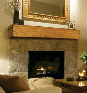 "6"" x 6"" Mantel made from Reclaimed wood beam mantel shelf ""REAL BEAM"""