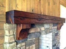 "Load image into Gallery viewer, Kristen's 6"" x 8"" x 60"" Reclaimed wood beam fireplace mantel shelf with corbels"