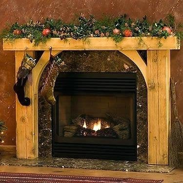 REAL BEAM Rustic full fireplace wood mantel with legs and inside corners