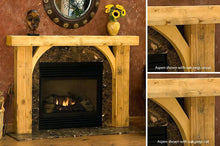 Load image into Gallery viewer, REAL BEAM Rustic full fireplace wood mantel with legs and inside corners