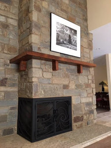 "4"" x 8"" Mantel made from Wrap around wood fireplace mantel shelf ""REAL BEAM"""