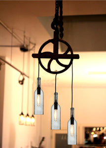 Beautiful Pulley lamp with wine bottles